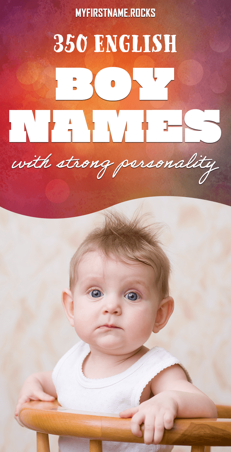 Strong English boy names infographics